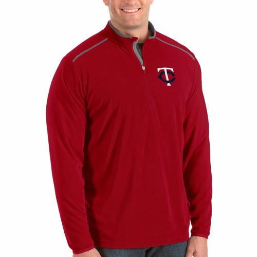 ANTIGUA ミネソタ ツインズ 灰色 グレー グレイ メンズファッション コート ジャケット メンズ 【 Minnesota Twins Big And Tall Glacier Quarter-zip Pullover Jacket - Gray 】 Red