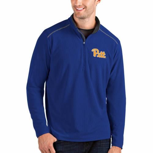 ANTIGUA パンサーズ メンズファッション コート ジャケット メンズ 【 Pitt Panthers Glacier Quarter-zip Pullover Jacket - Gray/charcoal 】 Royal