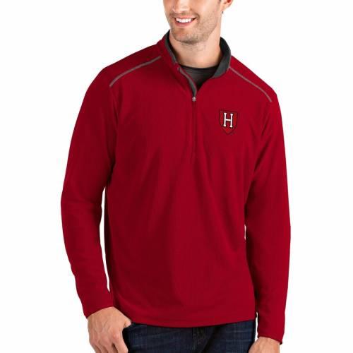 ANTIGUA ハーバード メンズファッション コート ジャケット メンズ 【 Harvard Crimson Glacier Quarter-zip Pullover Jacket - Black/charcoal 】 Crimson
