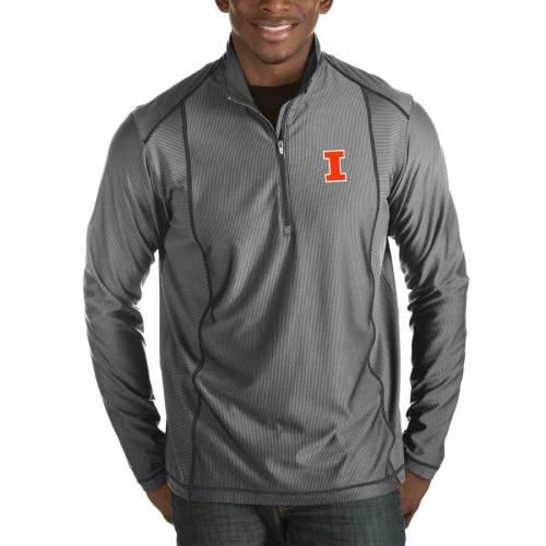 ANTIGUA イリノイ チャコール メンズファッション コート ジャケット メンズ 【 Illinois Fighting Illini Tempo Half-zip Pullover Big And Tall Jacket - Charcoal 】 Charcoal