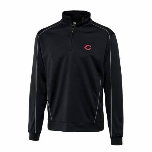 CUTTER & BUCK シンシナティ レッズ 黒 ブラック メンズファッション コート ジャケット メンズ 【 Cincinnati Reds Cutter And Buck Half-zip Drytec Edge Pullover Jacket - Black 】 Black