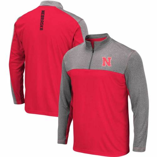 COLOSSEUM メンズファッション コート ジャケット メンズ 【 Nebraska Cornhuskers Luge Windshirt Quarter-zip Pullover Jacket - Scarlet 】 Scarlet