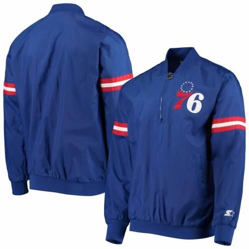 スターター STARTER フィラデルフィア セブンティシクサーズ メンズファッション コート ジャケット メンズ 【 Philadelphia 76ers The Jet Ii Crinkle Half-zip Pullover Jacket - Royal 】 Royal
