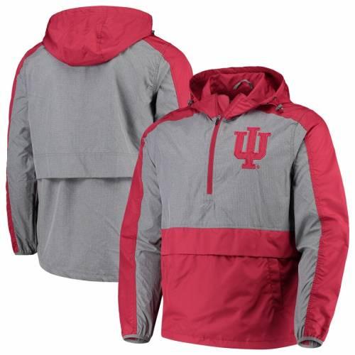 G-III SPORTS BY CARL BANKS インディアナ メンズファッション コート ジャケット メンズ 【 Indiana Hoosiers Leadoff Hooded Half-zip Pullover Jacket - Crimson 】 Crimson