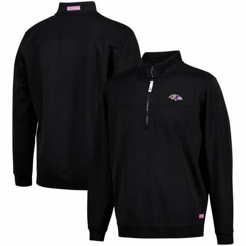 VINEYARD VINES ボルティモア レイブンズ 黒 ブラック メンズファッション コート ジャケット メンズ 【 Baltimore Ravens Collegiate Shep Shirt Quarter-zip Pullover Jacket - Black 】 Black