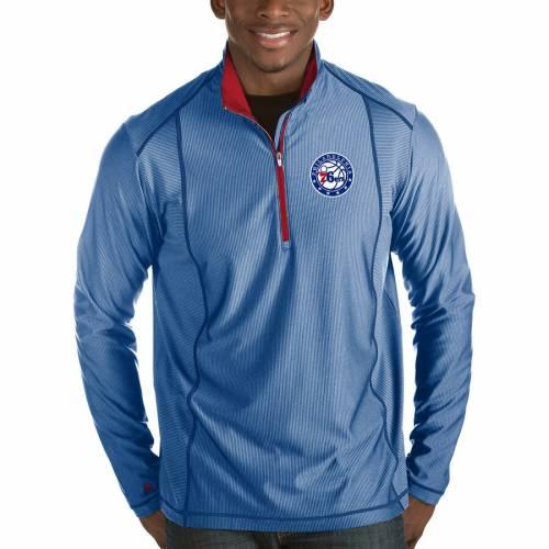 ANTIGUA フィラデルフィア セブンティシクサーズ メンズファッション コート ジャケット メンズ 【 Philadelphia 76ers Tempo Half-zip Pullover Jacket - Royal 】 Royal