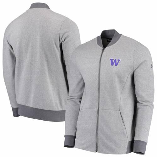 アンダーアーマー UNDER ARMOUR ワシントン フリース パフォーマンス 灰色 グレー グレイ メンズファッション コート ジャケット メンズ 【 Washington Huskies Tri-blend Fleece Full-zip Performance Bomber