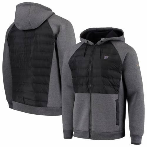 コロンビア COLUMBIA ワシントン ラグラン 黒 ブラック メンズファッション コート ジャケット メンズ 【 Washington Huskies Northern Comfort Full-zip Hooded Raglan Jacket - Black 】 Black