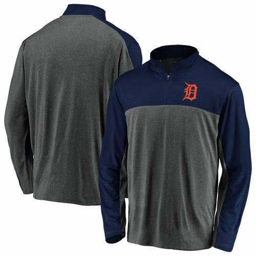 FANATICS BRANDED デトロイト タイガース メンズファッション コート ジャケット メンズ 【 Detroit Tigers Windshirt Quarter-zip Pullover Jacket - Charcoal/navy 】 Charcoal/navy