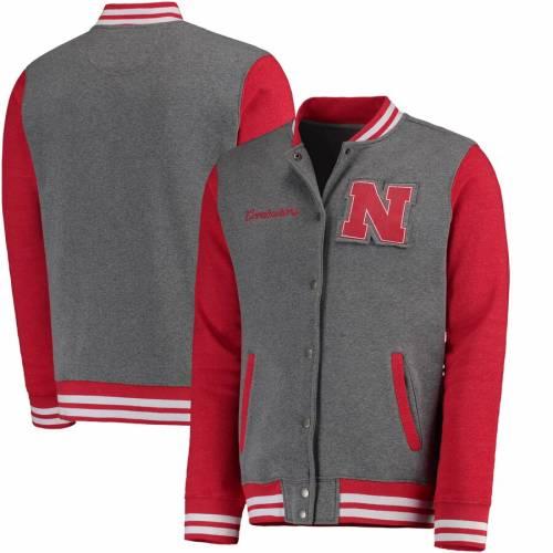 FANATICS BRANDED メンズファッション コート ジャケット メンズ 【 Nebraska Cornhuskers Letterman Varsity Tri-blend Jacket - Gray/scarlet 】 Gray/scarlet