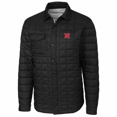 CUTTER & BUCK 黒 ブラック メンズファッション コート ジャケット メンズ 【 Nebraska Cornhuskers Cutter And Buck Rainier Full-snap Shirt Jacket - Black 】 Black