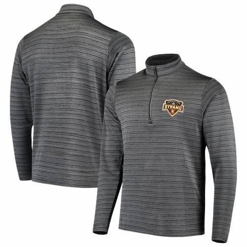 ANTIGUA ヒューストン メンズファッション コート ジャケット メンズ 【 Houston Dynamo Frontier Quarter-zip Pullover Jacket - Gray/black 】 Gray/black
