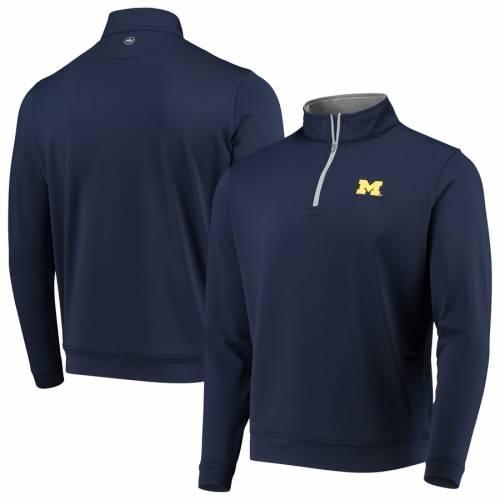 PETER MILLAR ミシガン ソリッド 紺 ネイビー メンズファッション コート ジャケット メンズ 【 Michigan Wolverines Perth Solid Stretch Quarter-zip Pullover Jacket - Navy 】 Navy