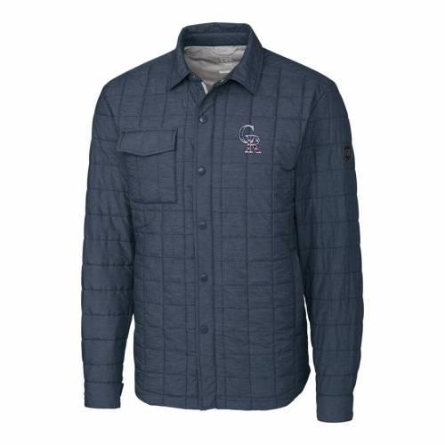 CUTTER & BUCK コロラド ロッキーズ 灰色 グレー グレイ メンズファッション コート ジャケット メンズ 【 Colorado Rockies Cutter And Buck Stars And Stripes Full-zip Rainier Shirt Jacket - Gray 】 Gray