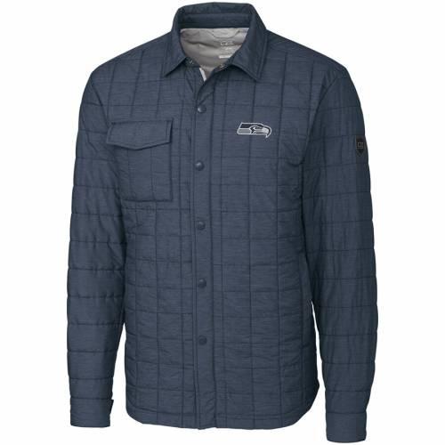 CUTTER & BUCK シアトル シーホークス チャコール メンズファッション コート ジャケット メンズ 【 Seattle Seahawks Cutter And Buck Rainier Shirt Jacket - Charcoal 】 Charcoal