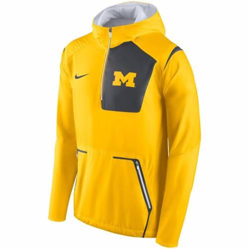 ナイキ NIKE ミシガン アルファ ラッシュ メンズファッション コート ジャケット メンズ 【 Michigan Wolverines Alpha Fly Rush Half-zip Pullover Jacket - Maize 】 Maize