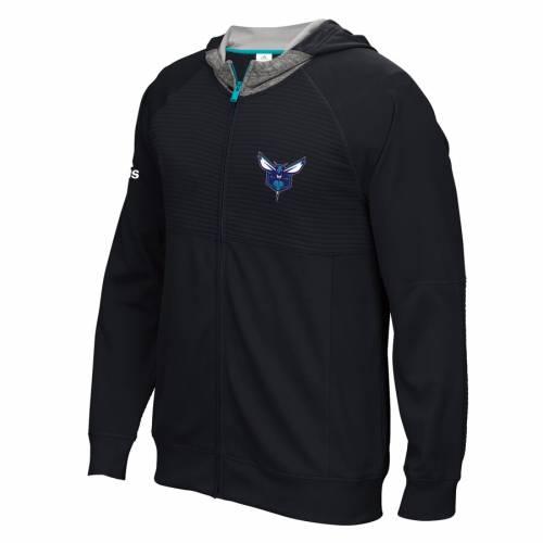 アディダス ADIDAS シャーロット ホーネッツ 黒 ブラック メンズファッション コート ジャケット メンズ 【 Charlotte Hornets 2016 Pre-game Full-zip Hooded Jacket - Black 】 Black