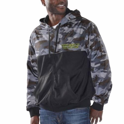 G-III SPORTS BY CARL BANKS オレゴン メンズファッション コート ジャケット メンズ 【 Oregon Ducks Crossover Hooded Full-zip Jacket - Black/camo 】 Black/camo