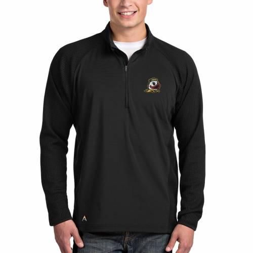 ANTIGUA オレゴン 黒 ブラック メンズファッション コート ジャケット メンズ 【 Oregon Ducks Sonar Quarter-zip Pullover Jacket - Black 】 Black