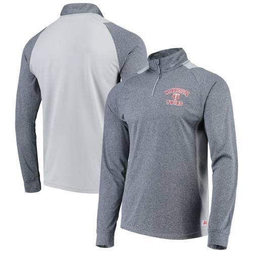 STITCHES ミネソタ ツインズ ラグラン スリーブ メンズファッション コート ジャケット メンズ 【 Minnesota Twins Raglan Sleeve Quarter-zip Pullover Jacket - Heathered Navy/gray 】 Heathered Navy/gray