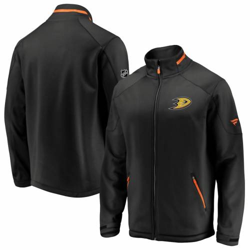 FANATICS BRANDED オーセンティック プロ 黒 ブラック メンズファッション コート ジャケット メンズ 【 Anaheim Ducks Authentic Pro Rinkside Full-zip Jacket - Black 】 Black