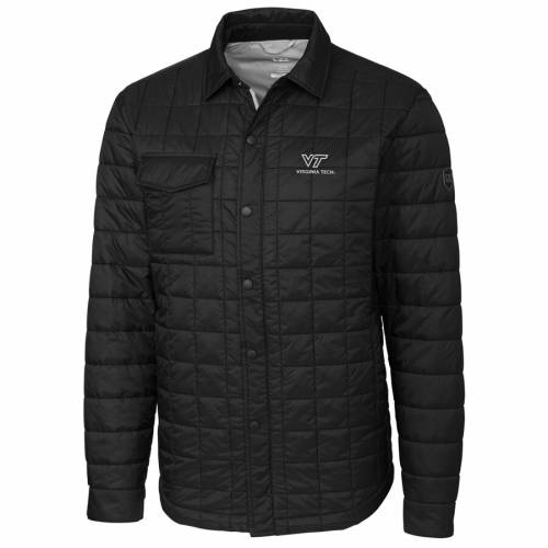 CUTTER & BUCK バージニア テック 黒 ブラック メンズファッション コート ジャケット メンズ 【 Virginia Tech Hokies Cutter And Buck Rainier Full-snap Shirt Jacket - Black 】 Black