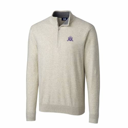 CUTTER & BUCK カレッジ クリーム メンズファッション コート ジャケット メンズ 【 Northwestern Wildcats Cutter And Buck Big And Tall College Vault Lakemont Tri-blend Half-zip Pullover Jacket - Cream 】 Cream