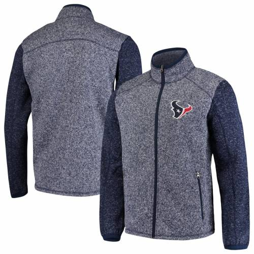 G-III SPORTS BY CARL BANKS ヒューストン テキサンズ ゾーン フリース 紺 ネイビー メンズファッション コート ジャケット メンズ 【 Houston Texans Alpine Zone Sweater Fleece Full-zip Jacket - Heathered Navy 】