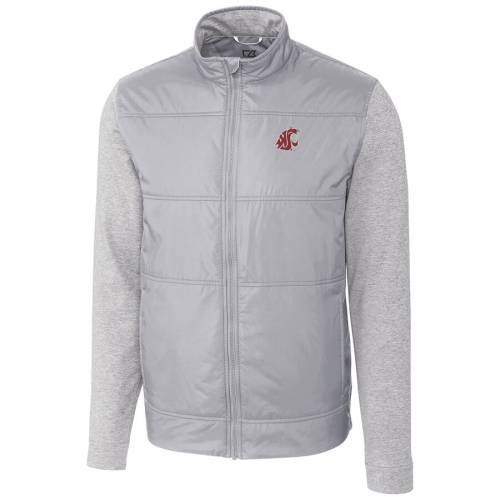 CUTTER & BUCK ワシントン スケートボード ステルス 銀色 シルバー メンズファッション コート ジャケット メンズ 【 Washington State Cougars Cutter And Buck Stealth Full-zip Jacket - Silver 】 Silver