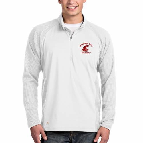 ANTIGUA ワシントン スケートボード 白 ホワイト メンズファッション コート ジャケット メンズ 【 Washington State Cougars Sonar Quarter-zip Pullover Jacket - White 】 White