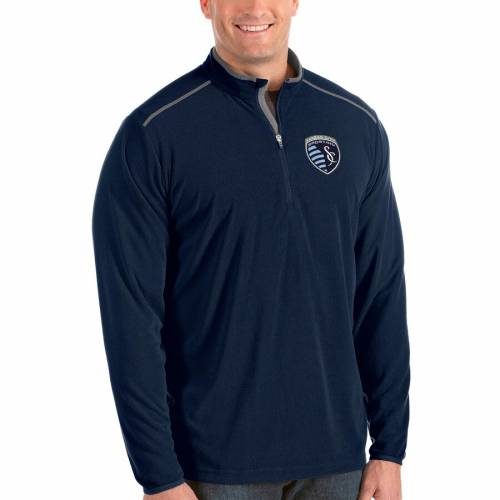 ANTIGUA カンザス シティ 紺 ネイビー メンズファッション コート ジャケット メンズ 【 Sporting Kansas City Big And Tall Glacier Quarter-zip Pullover Jacket - Navy 】 Navy