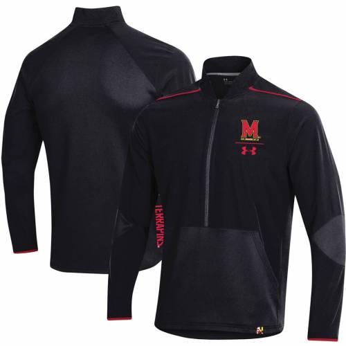 アンダーアーマー UNDER ARMOUR メリーランド サイドライン 黒 ブラック メンズファッション コート ジャケット メンズ 【 Maryland Terrapins 2019 Sideline Evo Half-zip Jacket - Black 】 Black