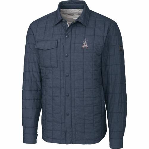 CUTTER & BUCK エンジェルス 灰色 グレー グレイ メンズファッション コート ジャケット メンズ 【 Los Angeles Angels Cutter And Buck Stars And Stripes Full-zip Rainier Shirt Jacket - Gray 】 Gray