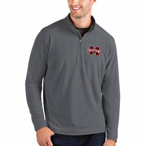 ANTIGUA スケートボード メンズファッション コート ジャケット メンズ 【 Mississippi State Bulldogs Glacier Quarter-zip Pullover Jacket - Gray/charcoal 】 Gray