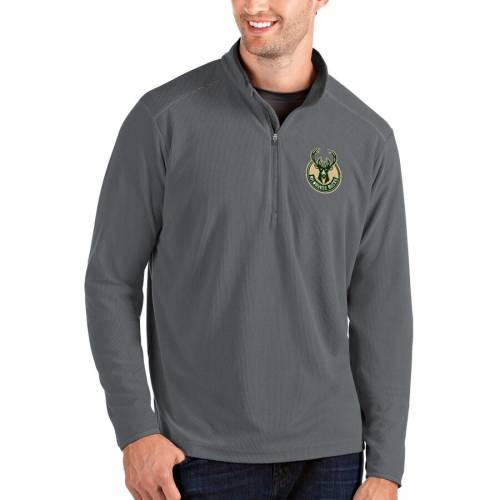 ANTIGUA ミルウォーキー バックス メンズファッション コート ジャケット メンズ 【 Milwaukee Bucks Glacier Quarter-zip Pullover Jacket - Black/gray 】 Charcoal