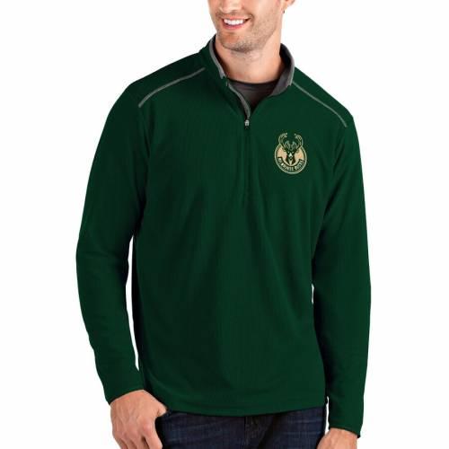 ANTIGUA ミルウォーキー バックス メンズファッション コート ジャケット メンズ 【 Milwaukee Bucks Glacier Quarter-zip Pullover Jacket - Black/gray 】 Hunter Green