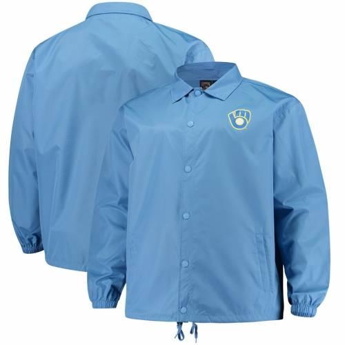 マジェスティック MAJESTIC ミルウォーキー ブルワーズ 青 ブルー メンズファッション コート ジャケット メンズ 【 Milwaukee Brewers Big And Tall Heavy Jacket - Light Blue 】 Light Blue