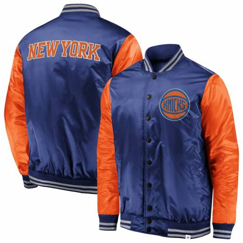 FANATICS BRANDED ニックス サテン メンズファッション コート ジャケット メンズ 【 New York Knicks Iconic Tackle Twill Satin Jacket - Blue/orange 】 Blue/orange