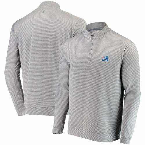 JOHNNIE-O シカゴ 白 ホワイト 灰色 グレー グレイ メンズファッション コート ジャケット メンズ 【 Chicago White Sox Striped Flex Quarter-zip Jacket - Gray 】 Gray