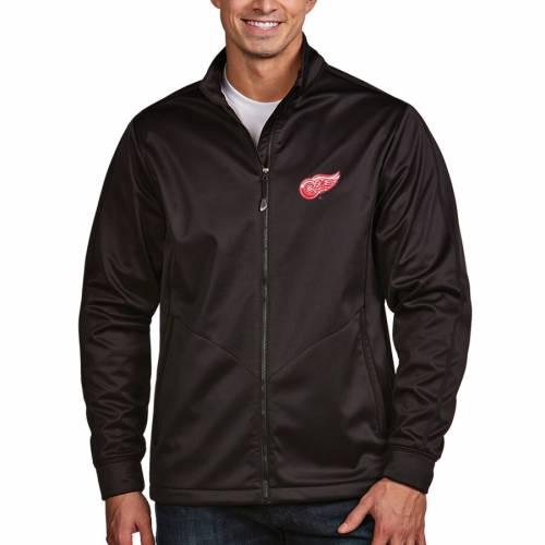 ANTIGUA デトロイト 赤 レッド ゴルフ 黒 ブラック メンズファッション コート ジャケット メンズ 【 Detroit Red Wings Full Zip Golf Jacket - Black 】 Black