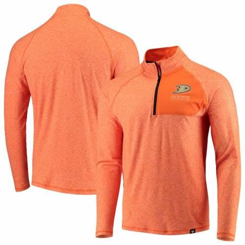 FANATICS BRANDED 橙 オレンジ メンズファッション コート ジャケット メンズ 【 Anaheim Ducks Made To Move Quarter-zip Pullover Jacket - Orange/heathered Orange 】 Orange/heathered Orange