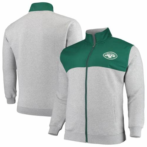 PROFILE ジェッツ マジェスティック ロゴ メンズファッション コート ジャケット メンズ 【 New York Jets Majestic Big And Tall Logo Full-zip Jacket - Heathered Gray/green 】 Heathered Gray/green