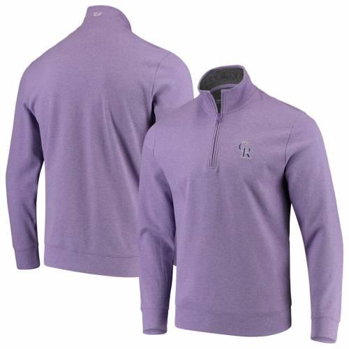 VINEYARD VINES コロラド ロッキーズ 紫 パープル メンズファッション コート ジャケット メンズ 【 Colorado Rockies Saltwater Half-zip Tri-blend Pullover Jacket - Purple 】 Purple