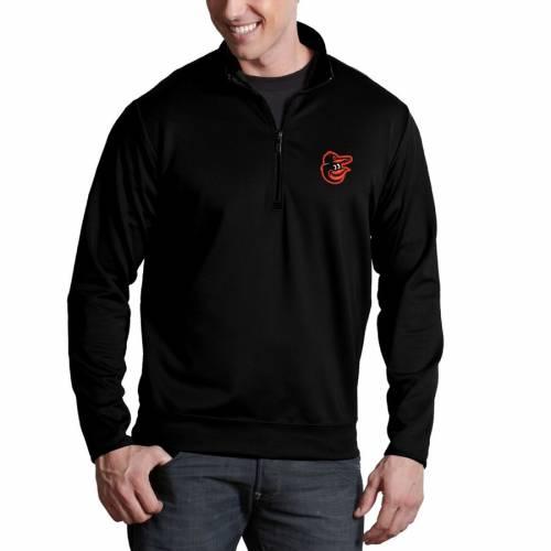 ANTIGUA ボルティモア オリオールズ 黒 ブラック メンズファッション コート ジャケット メンズ 【 Baltimore Orioles Leader Quarter-zip Pullover Jacket - Black 】 Black