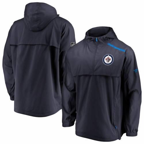FANATICS BRANDED ジェッツ オーセンティック プロ 紺 ネイビー メンズファッション コート ジャケット メンズ 【 Winnipeg Jets Authentic Pro Rinkside Anorak 1/4-zip Jacket - Navy 】 Navy
