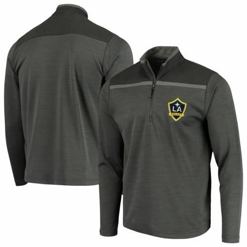 ANTIGUA メンズファッション コート ジャケット メンズ 【 La Galaxy Cryptic Quarter-zip Pullover Jacket - Charcoal/black 】 Charcoal/black