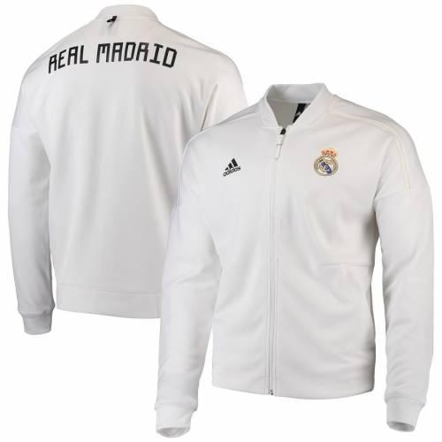 アディダス ADIDAS 白 ホワイト Z.n.e. メンズファッション コート ジャケット メンズ 【 Real Madrid Anthem Full-zip Z.n.e. Jacket - White 】 White