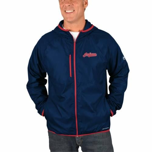 マジェスティック MAJESTIC クリーブランド インディアンズ 紺 ネイビー メンズファッション コート ジャケット メンズ 【 Cleveland Indians Strong Will Dry Base Full-zip Hooded Jacket - Navy 】 Navy
