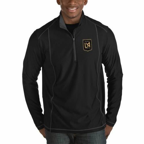 ANTIGUA 黒 ブラック メンズファッション コート ジャケット メンズ 【 Lafc Tempo Big And Tall Half-zip Pullover Jacket - Black 】 Black
