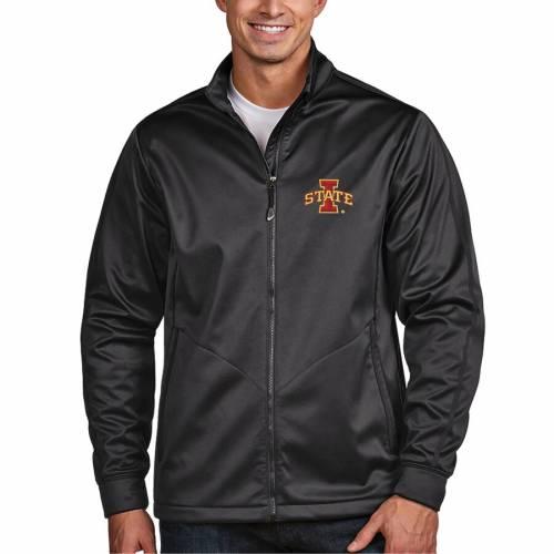 ANTIGUA スケートボード ゴルフ チャコール メンズファッション コート ジャケット メンズ 【 Iowa State Cyclones Golf Full-zip Jacket - Charcoal 】 Charcoal